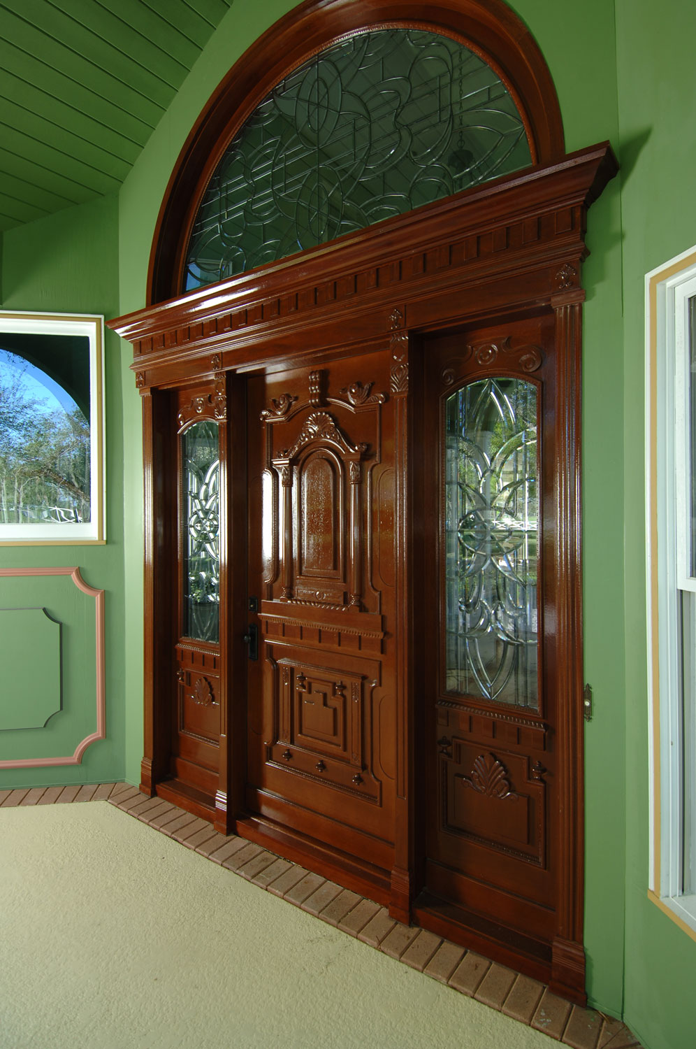 Victorian Home Custom Front Door, Mahogany with Leaded Glass