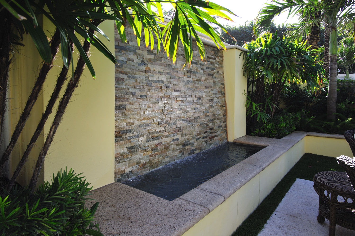 Caribbean Colonial Home Landscape, Fountain