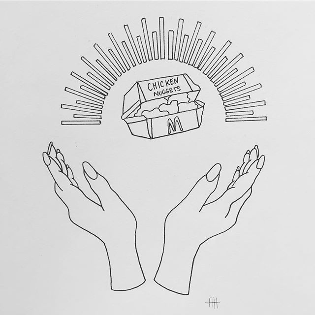 My favourite illustration from this week. A sneak peak at some fun new work that I will be selling as a series of prints in March. #blackwork #illustration #annabelhooddesign #holy #chickennuggets @emilylouise_82 this one is for you ❤️