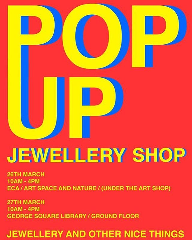 Hey everyone, just to let you guys know that the Edinburgh College of Art 4th year jewellers are going to be holding a pop up shop on the 26th at ECA and 27th at George sq selling jewellery and various other nice things such as prints that we have made this year. This is to raise money to exhibit at New Designers in London at the end of June. #designers #jewellery #silversmithing #ECA #popupshop #newdesigners