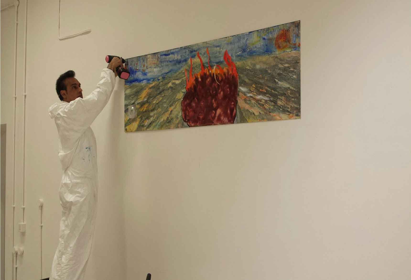 Installing at exhibition