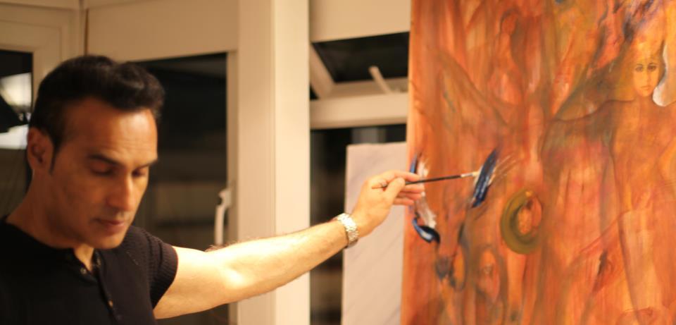 Farrukh Akbar -in his studio