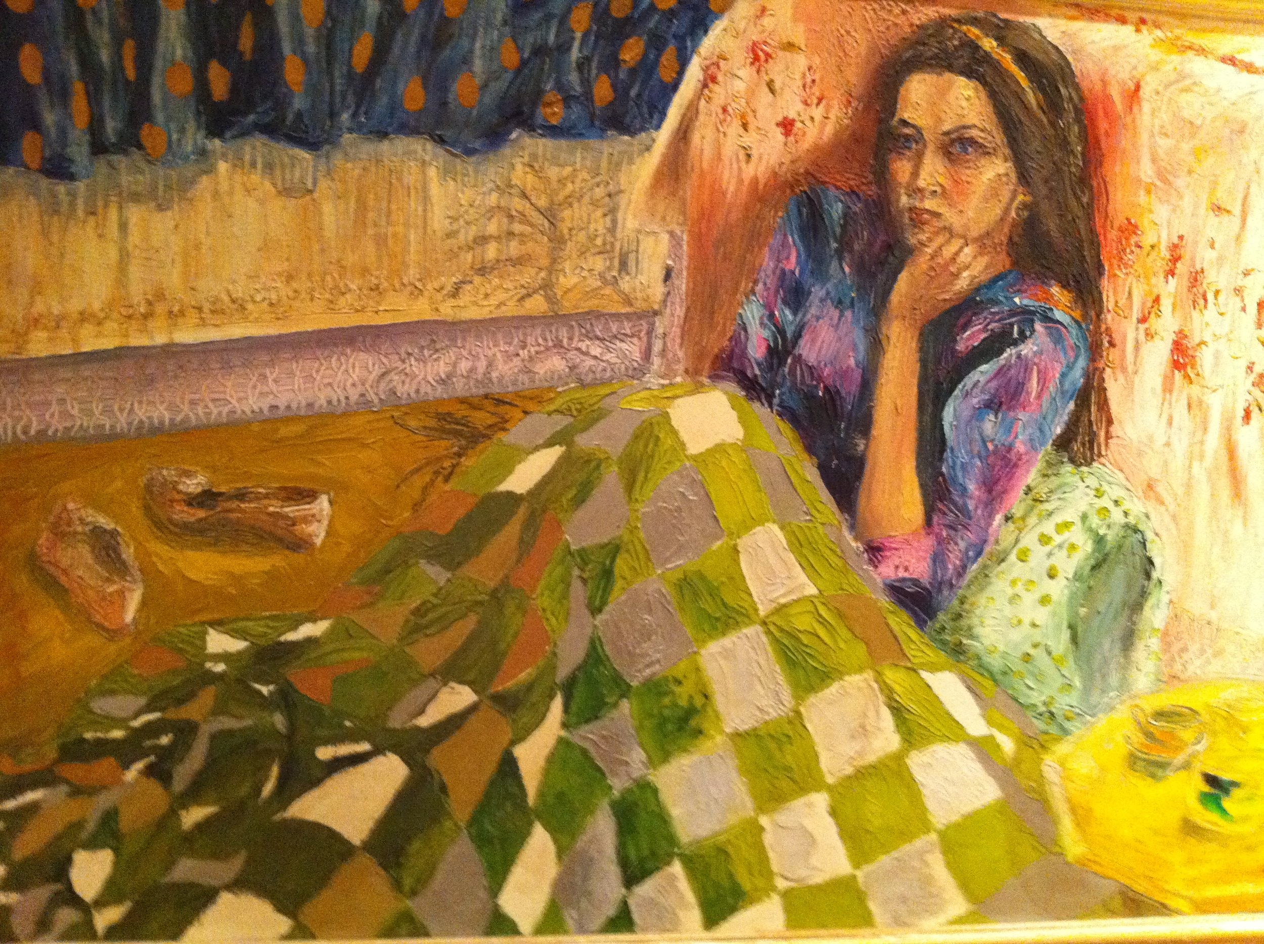 Girl in green quilt oil on board.Only available to order on limited colour prints signed by the artist
