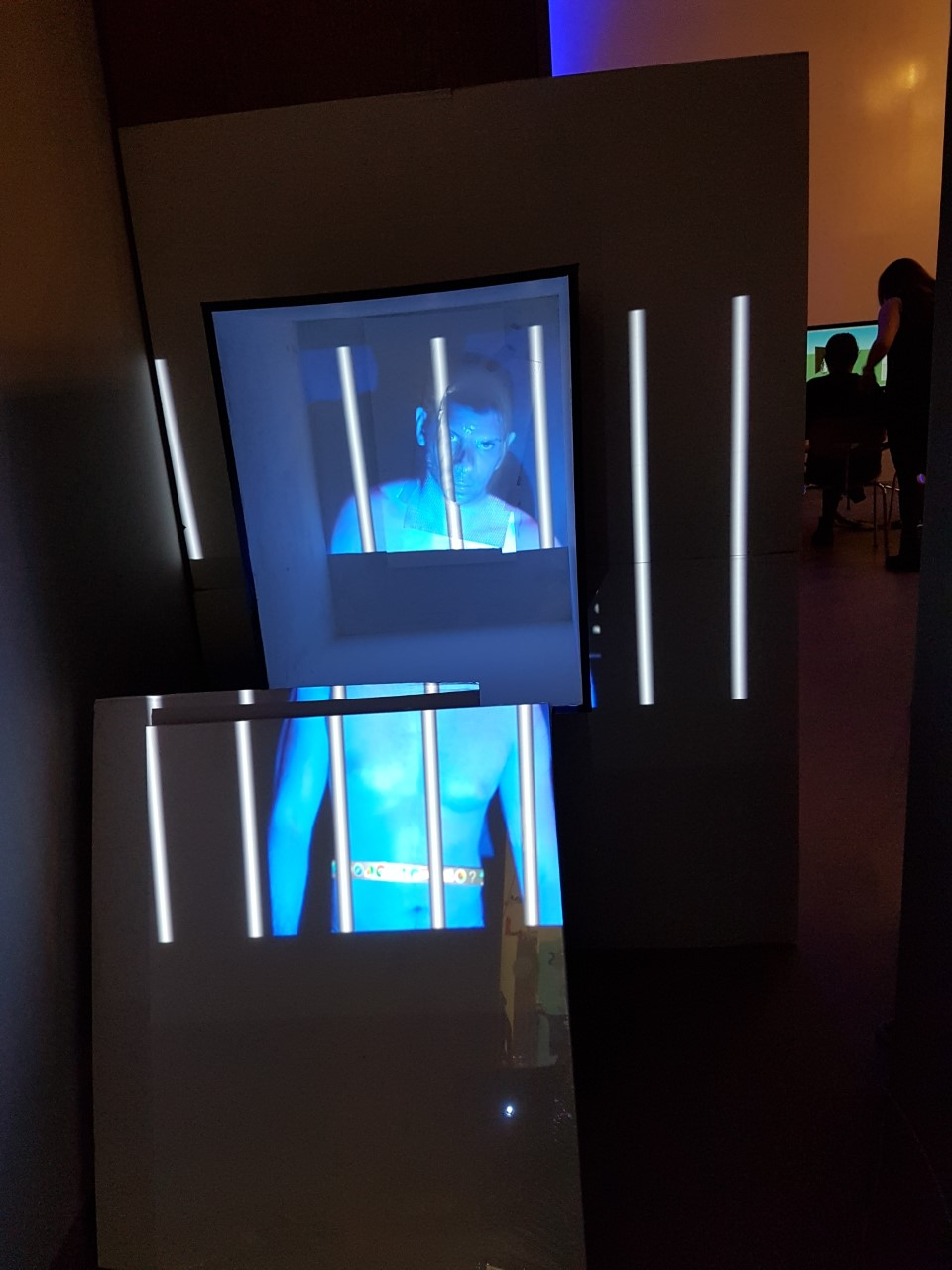 The cyber prison- A 3D holographic sculpture shown at Tate Britain Late event in Aug 2019. The theme being time and history . The work imagines a world of futuristic penal cyber technology where inmates serve out their terms in a virtual prison. This commissioned work references Tate Britain's site in 1800's when it was still the notorious Millbank Prison.