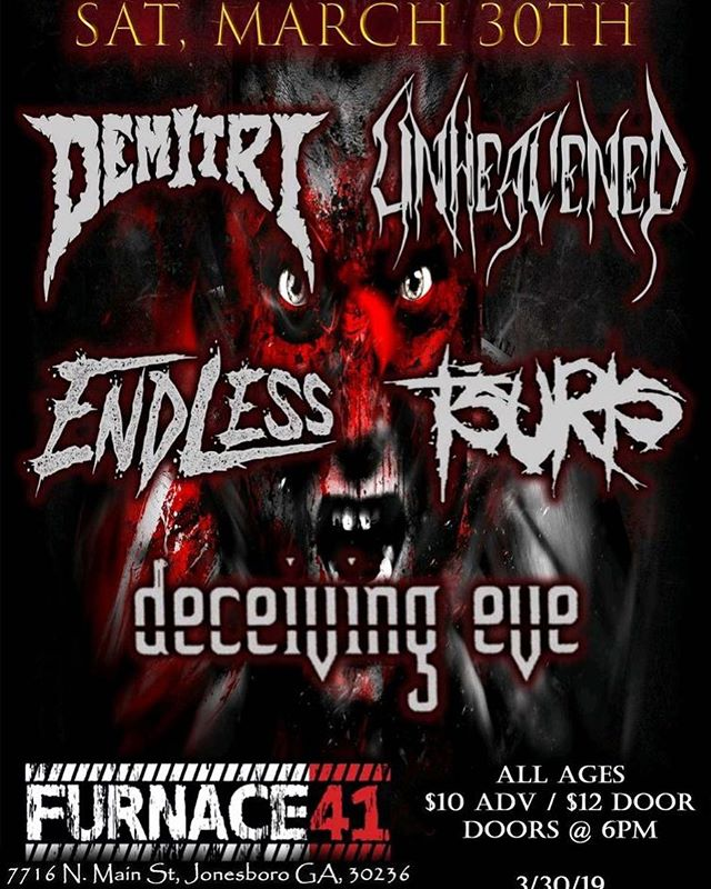 Here's an updated flyer for our show @furnace41 on Saturday March 30th 🤘 Come out and bang your fucking heads! #unheavened #metal #thrashmetal #deathmetal #melodicdeathmetal #melodicthrashmetal #atlantametal #atlmetal #atlanta