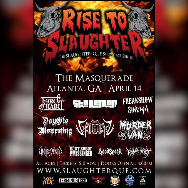 We'll be playing on April 14th at The Masquerade for Rise to Slaughter 2019! #unheavened #thrashmetal #deathmetal #melodicdeathmetal #melodicthrashmetal #metal #atlantametal #atlmetal #atlanta #atlantamusic #slaughterque #unsigned