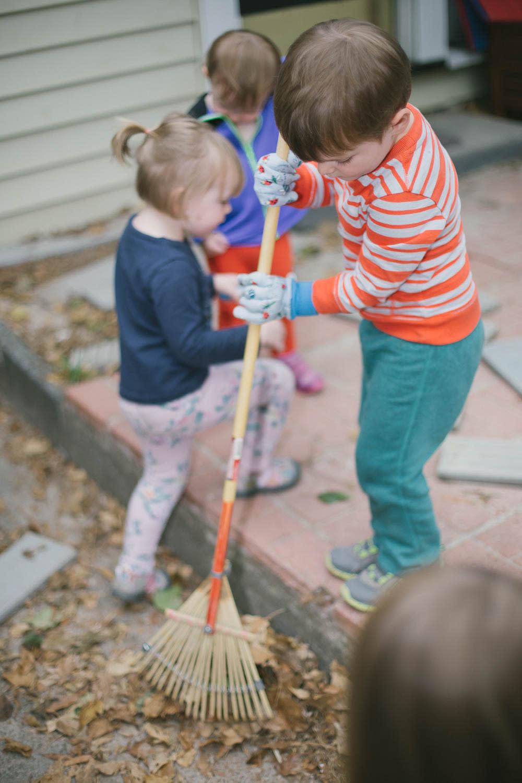 children gardening together