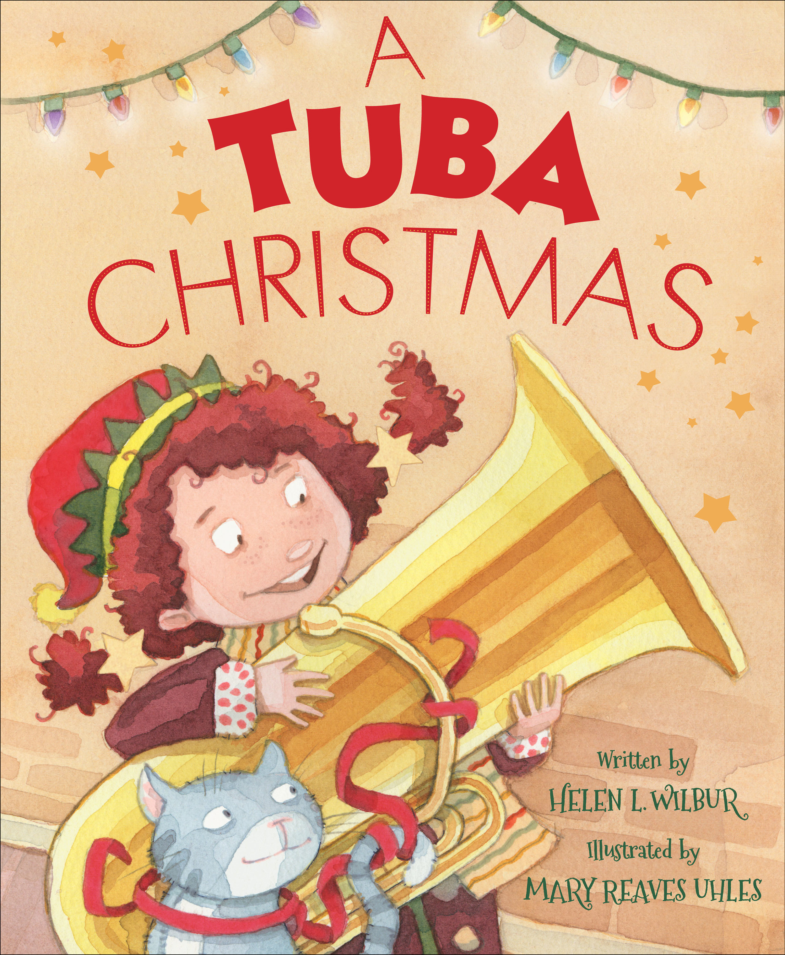 A Tuba Christmas   Written by Helen Wilbur illustrated by Mary Reaves Uhles  Available now from Sleeping Bear Press, Picture book 32 pages  With a family that loves music as much as hers does, it was only a matter of time before it was Ava's turn to pick out an instrument. Her mother plays the piano, her father plays the violin, and one brother plays the cello while the other plays the clarinet. As soon as Ava selects an instrument, she will be able to join them as they practice for the annual holiday concert. And her family has definite ideas on what instrument Ava should select, from the piano to the flute to the violin. But Ava isn't interested in any of them. Ava wants to play the tuba. And she gets her wish. But playing the tuba isn't as easy as it seems. And there is no place for a tuba in the annual concert. But with the encouragement of her music teacher, Ava finds a place for her and her tuba in a special holiday celebration.