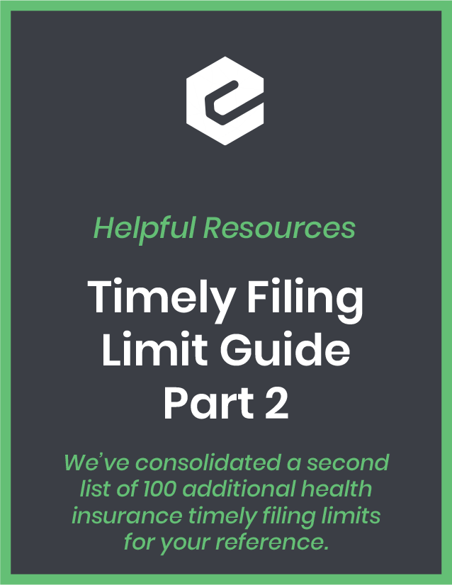 We've consolidated a second list of 100 additional health insurance timely filing limits for your reference.
