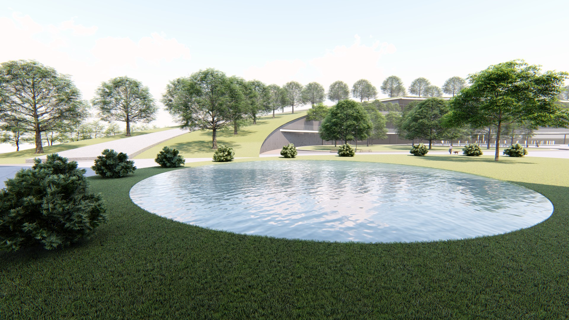 View of the pond amidst the green space.