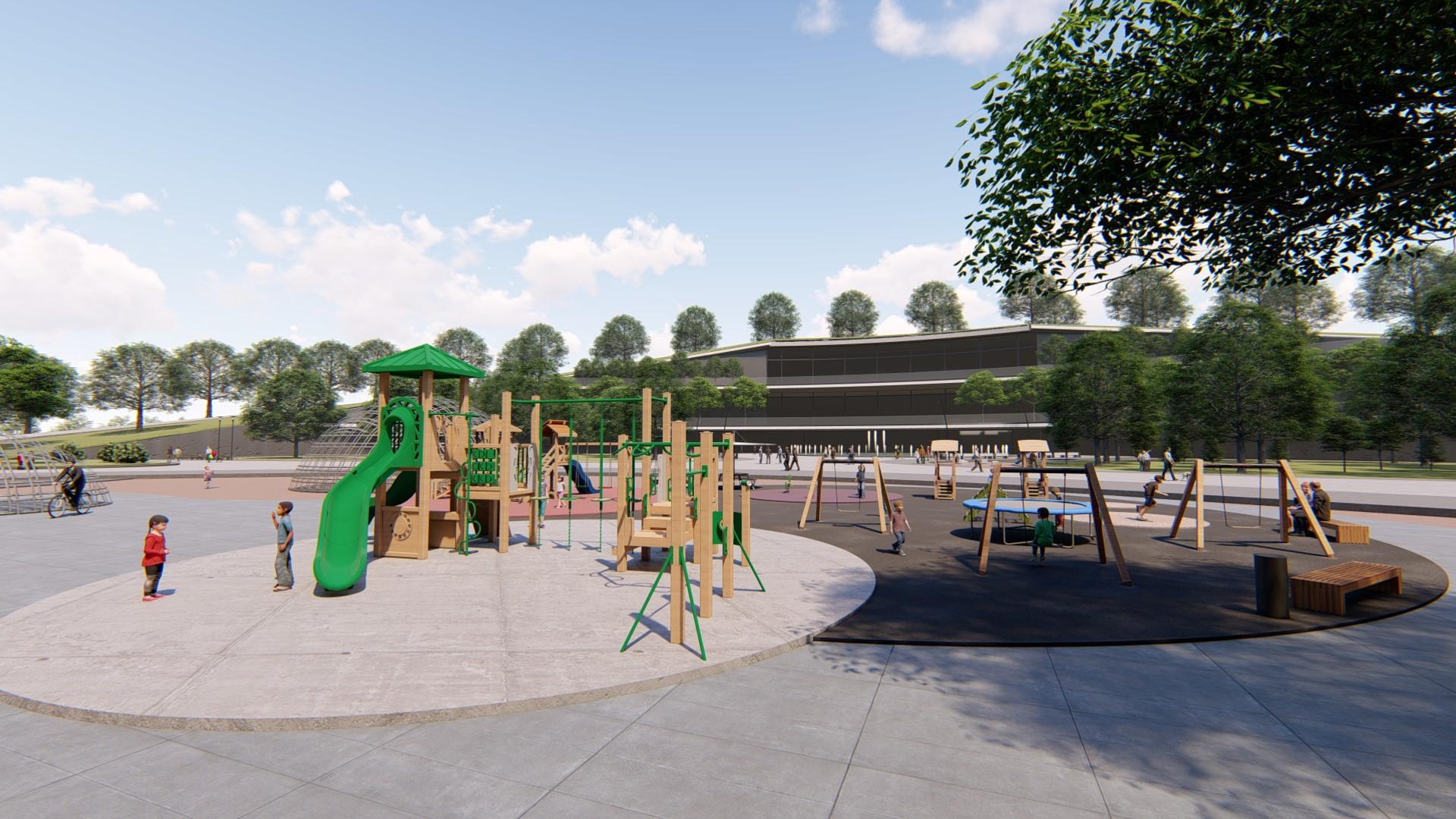 Ground level view of the playground.