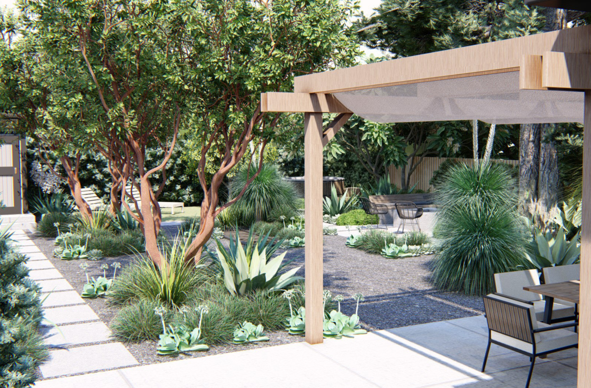 A digital view of Saletnik and Vesely's new backyard design with a refurbished concrete patio and shade structure. New plantings are lush while still being low maintenance and waterwise.