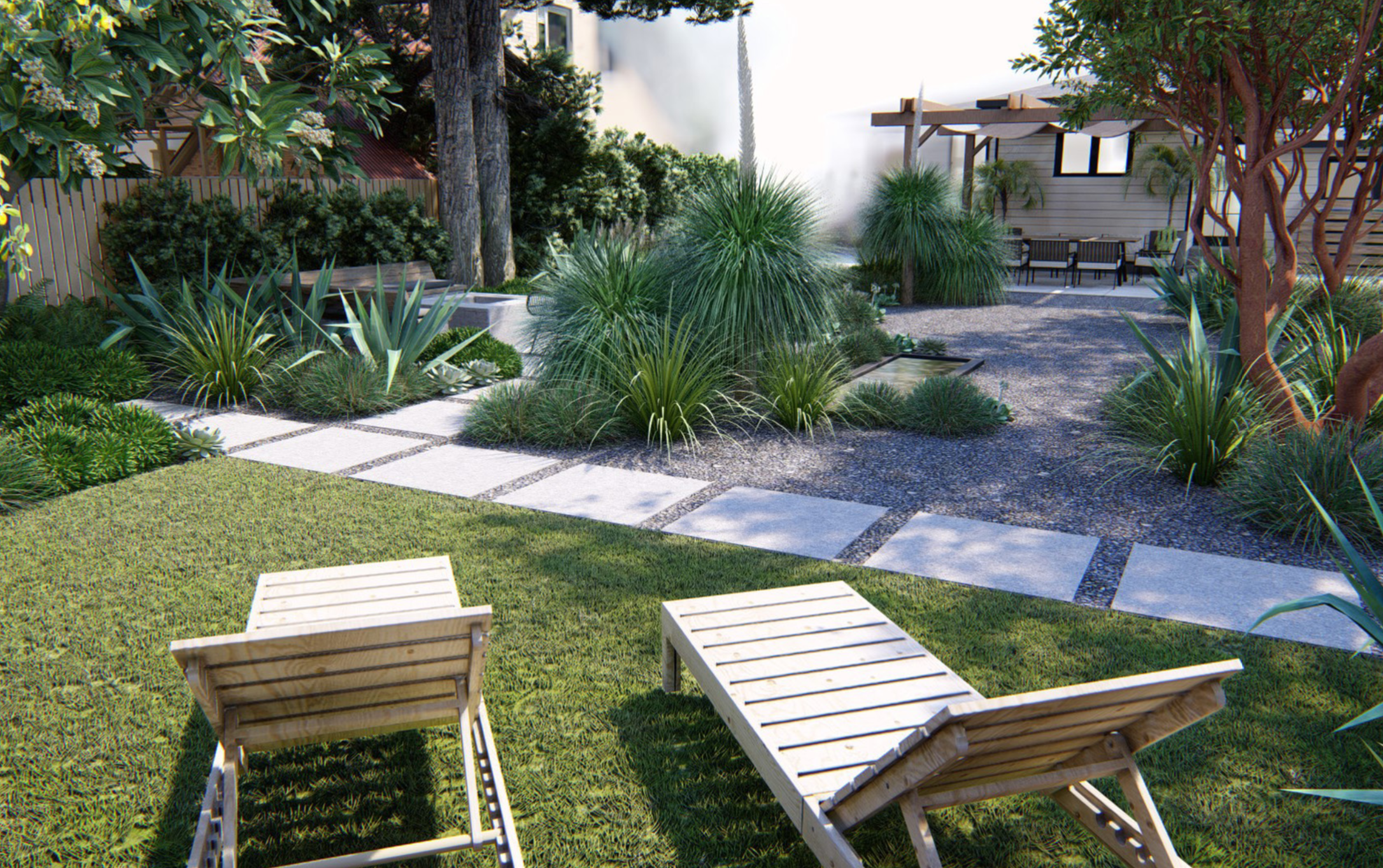 Saletnik and Vesely wanted a synthetic lawn area for their dog, Jasmine, to play. This lawn area is at the back of the property and also makes a good spot for two lounge chairs.