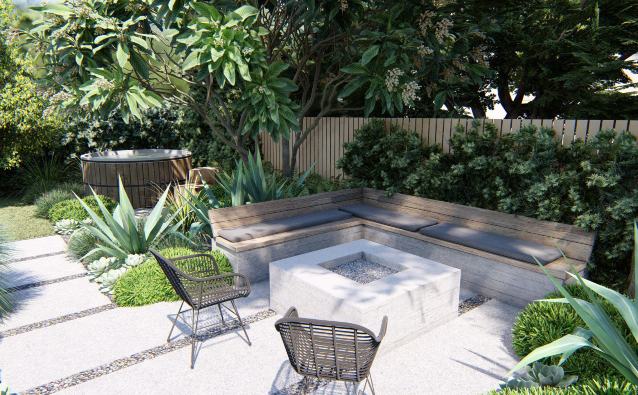 This backyard seating area and fire pit constructed using board-formed concrete and wood is the perfect space for entertaining friends or having a glass of wine in the evening.