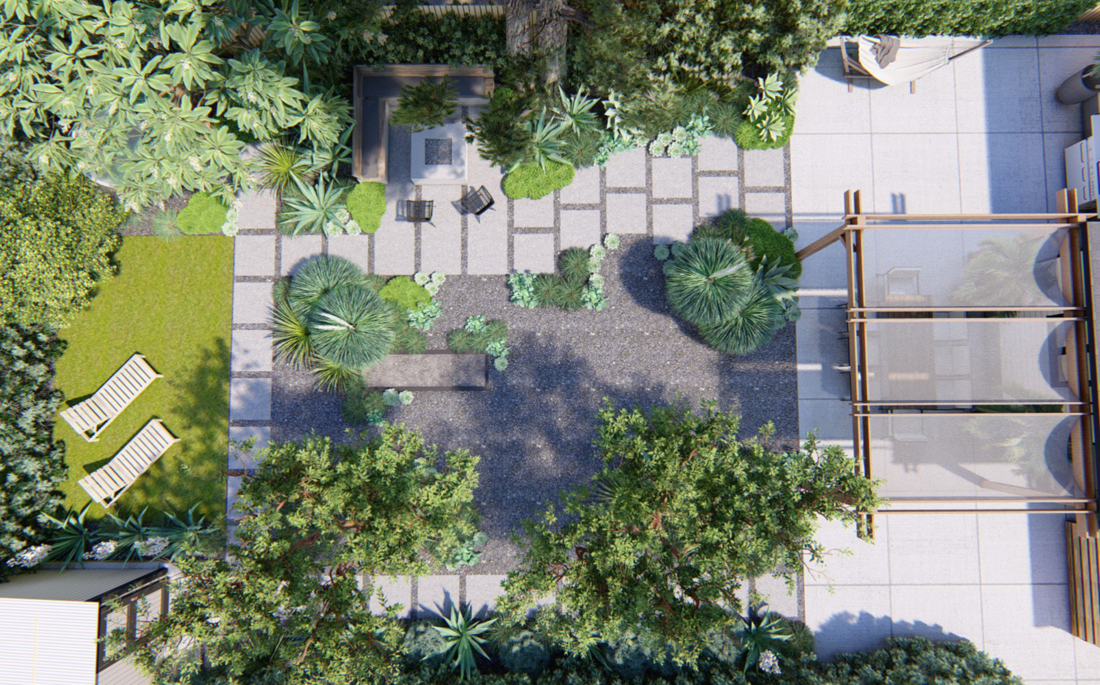 The bird's-eye view of Saletnik and Vesely's backyard shows how all the elements connect. Quarter-inch mixed beach pebble is used at the center of this space and also in between poured concrete pavers knitting the spaces together visually.