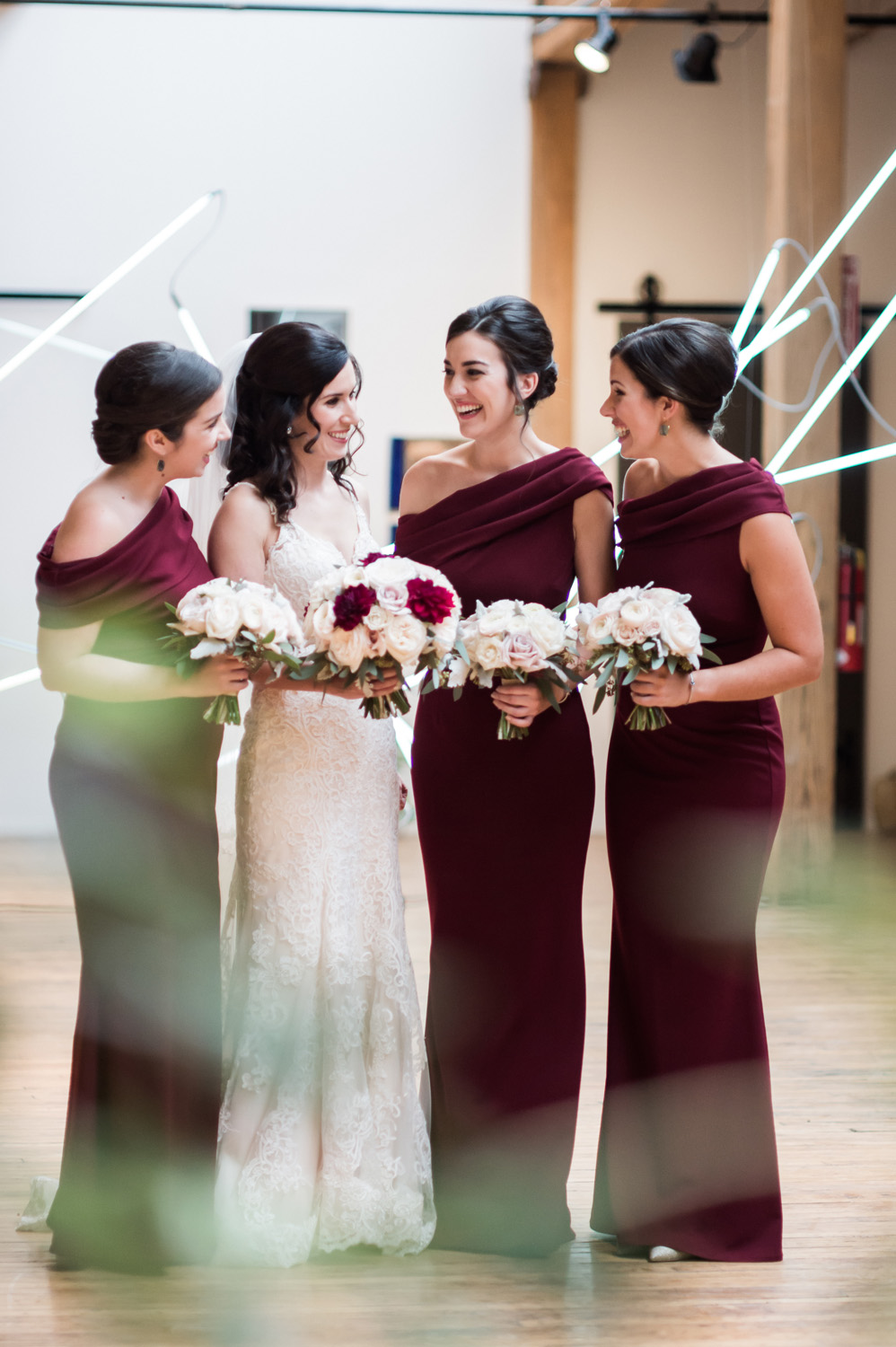 Group portrait of bride and bridesmaids.