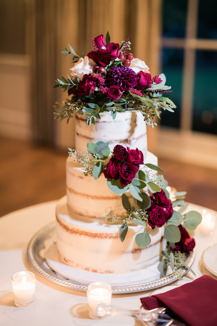 Detail photo of wedding cake.