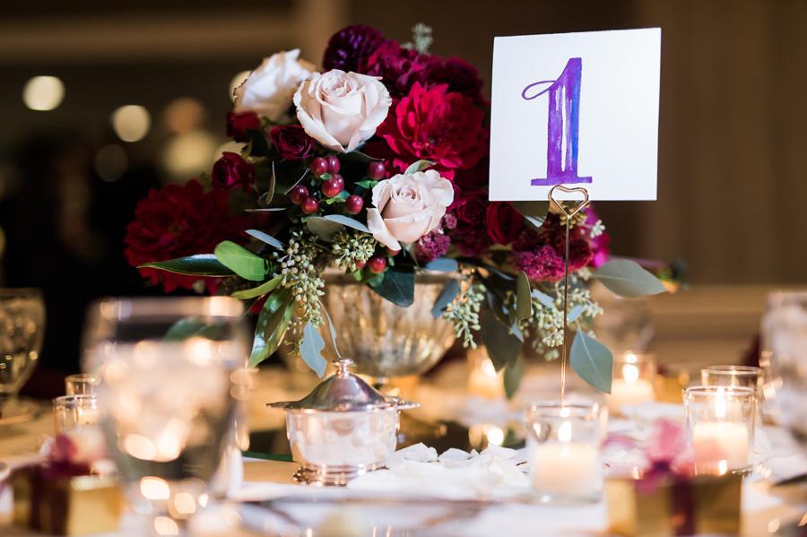 Detail photo of centerpiece at wedding reception.