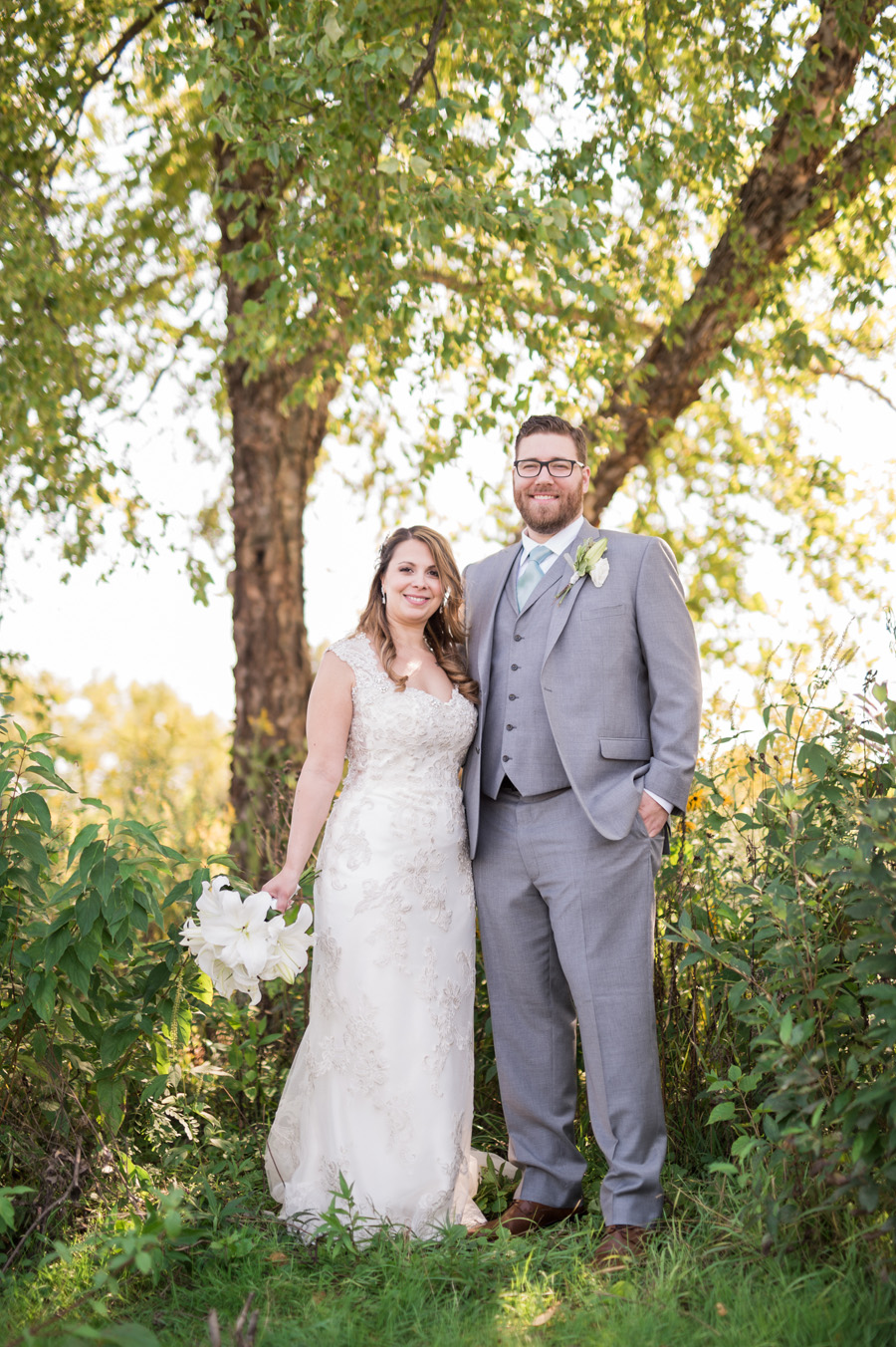 Portrait of bride and groom in St. Charles, IL.
