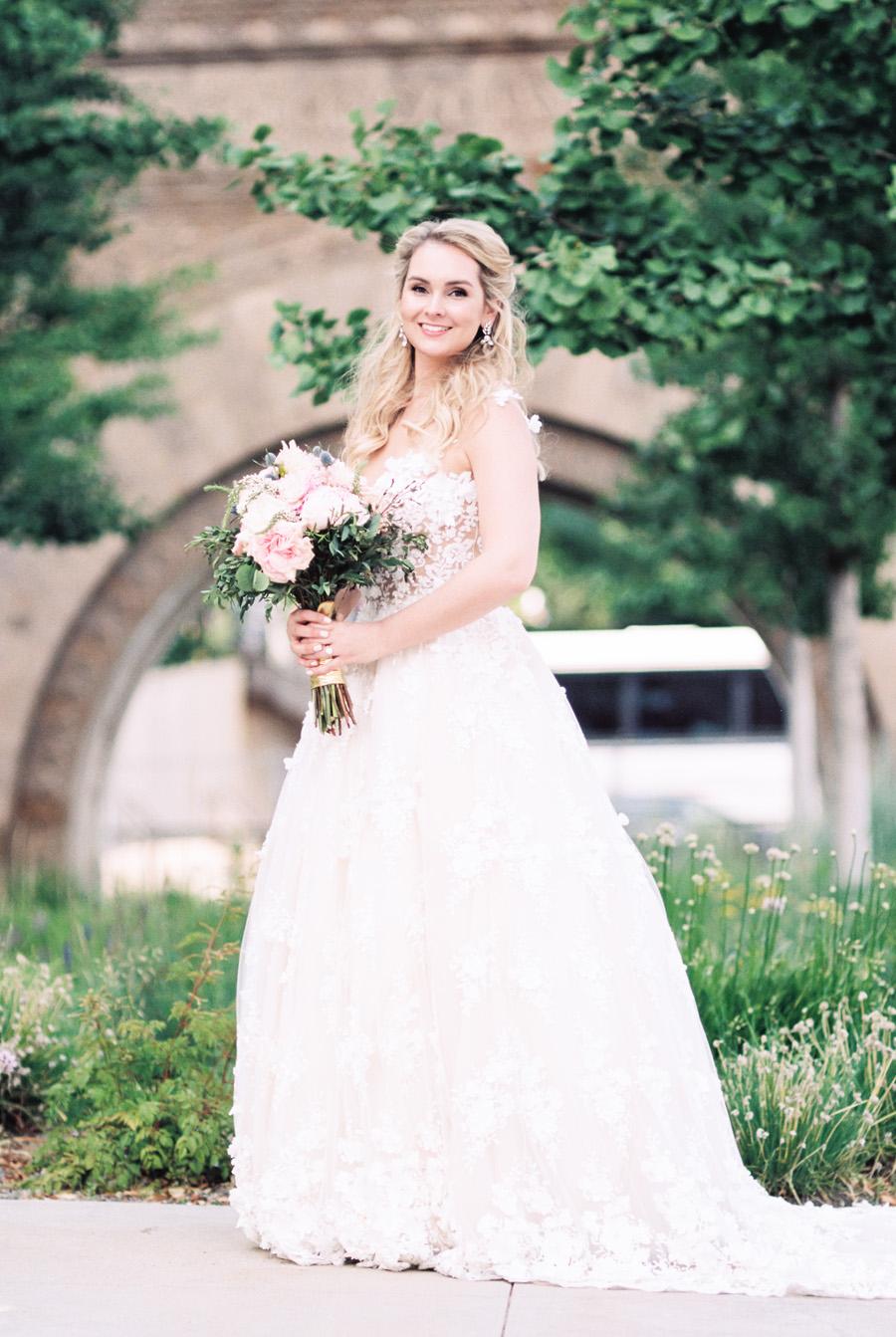 Portrait of bride at the art institute.
