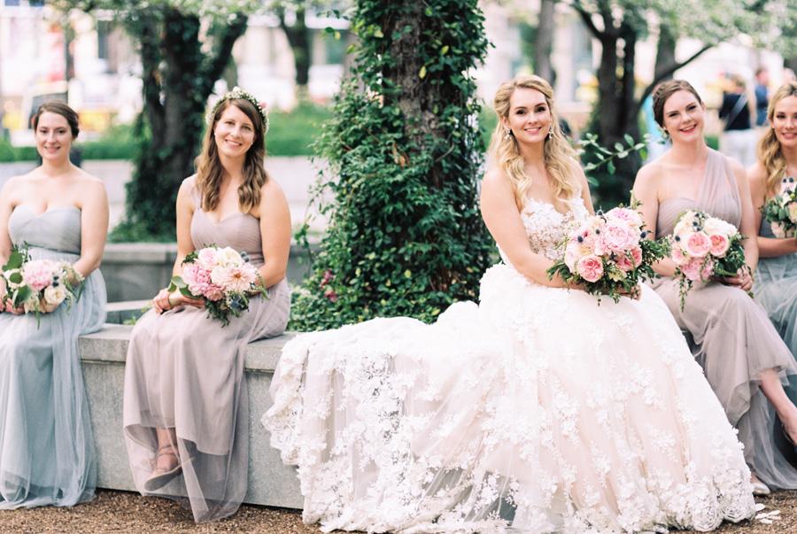 Bride and bridesmaids at the Arti Intitute.