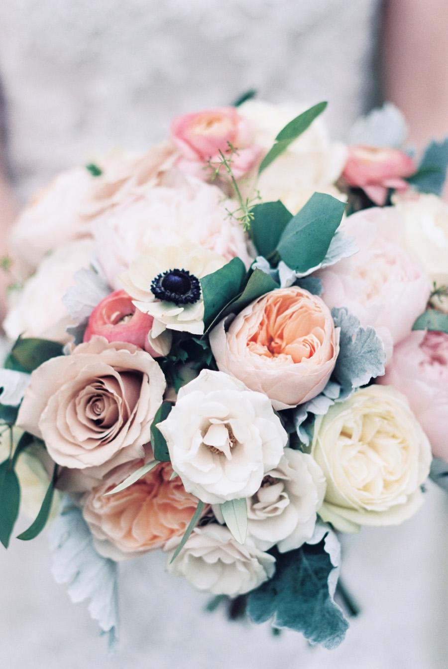 Detail photo of bridal bouquet.