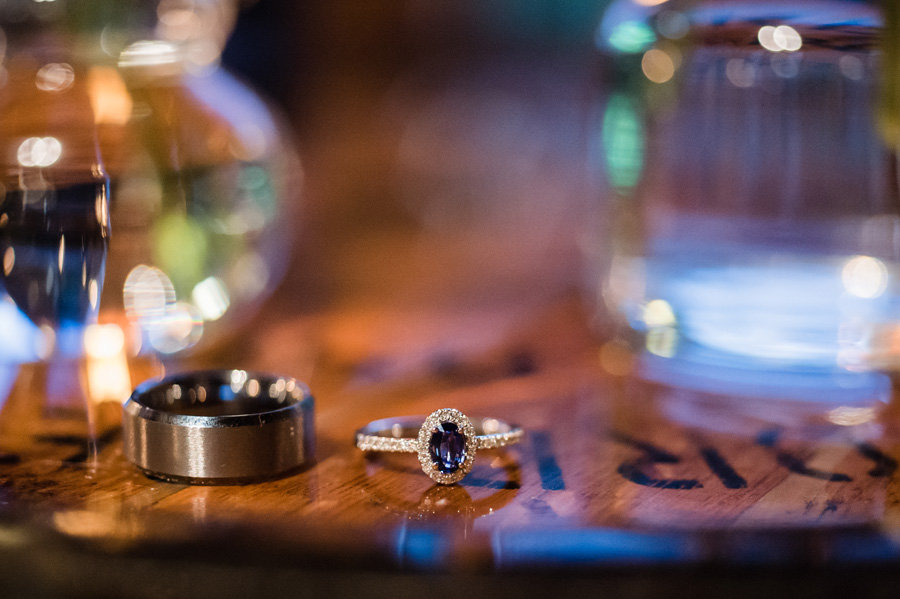 Detail shot of wedding rings at Revolution Brewing.