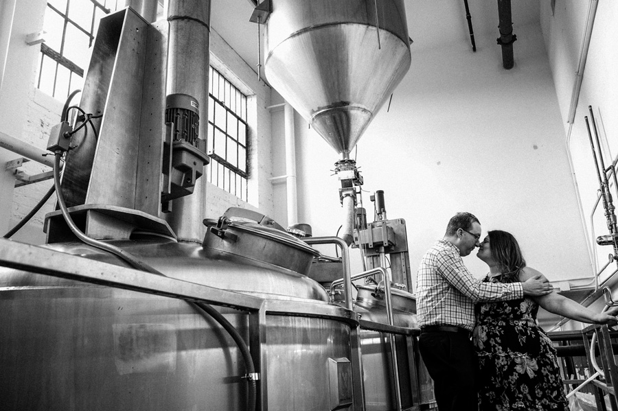 Engagement portraits at Dovetail Brewery.