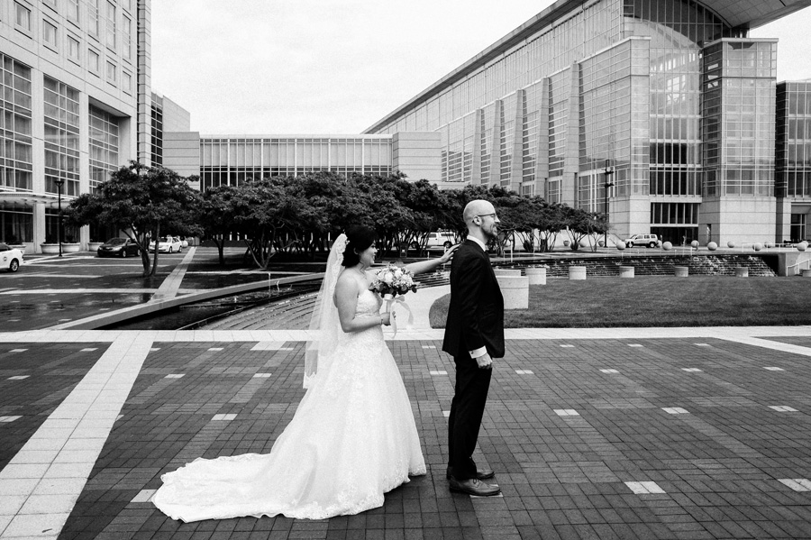 Bridal and groom first look McCormick Place.