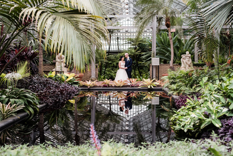 Bride and groom at Garfield Park Conservatory.