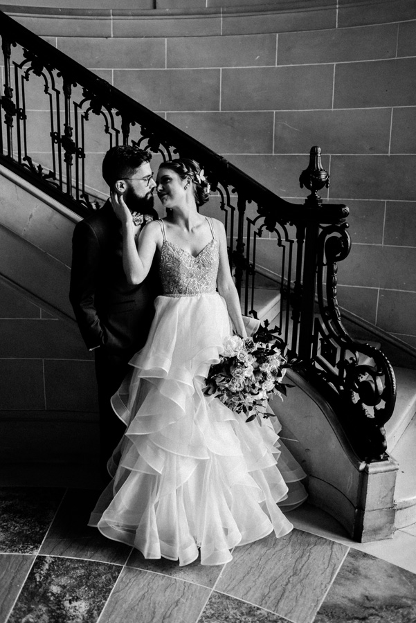 Black and white portrait of bride and groom.