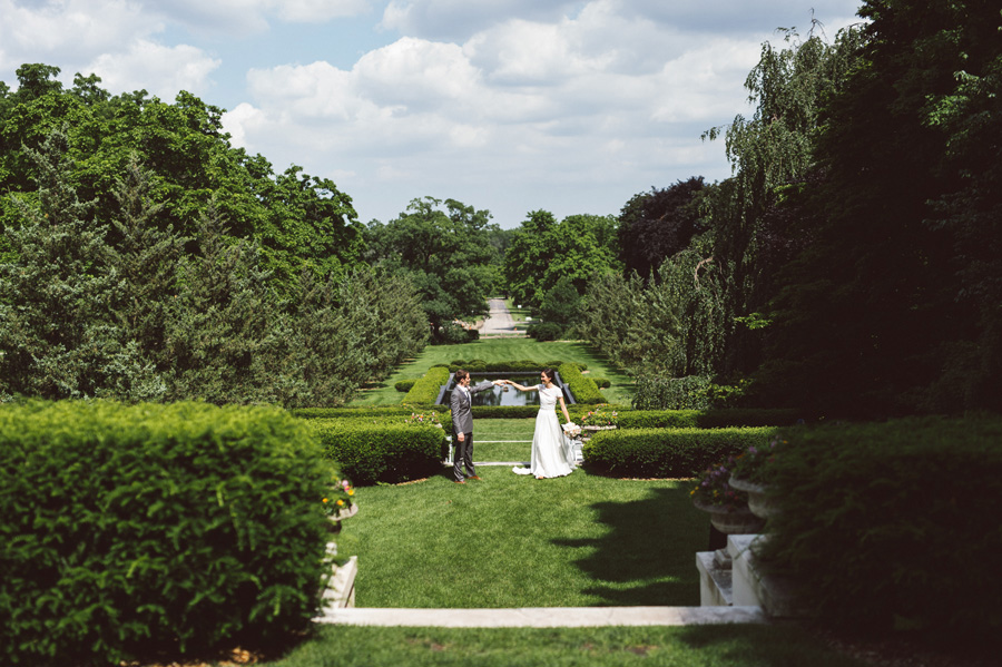 Bride and groom dance at Cantigny Park.