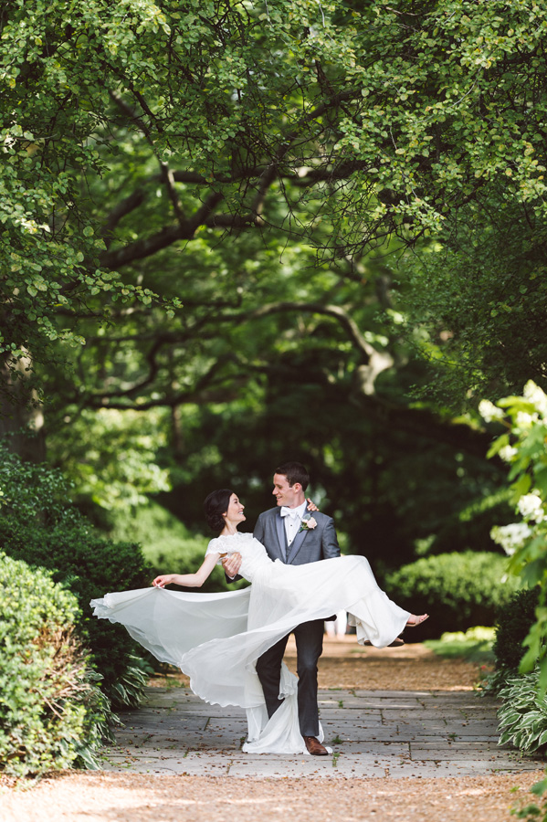 Bride and groom spin at Cantigny Park.