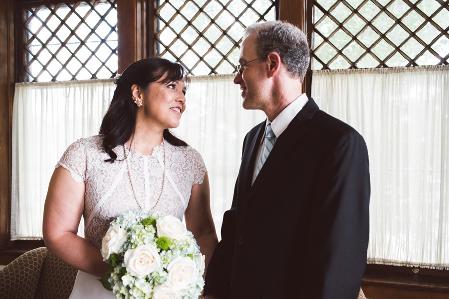 Bride and groom portrait in church.