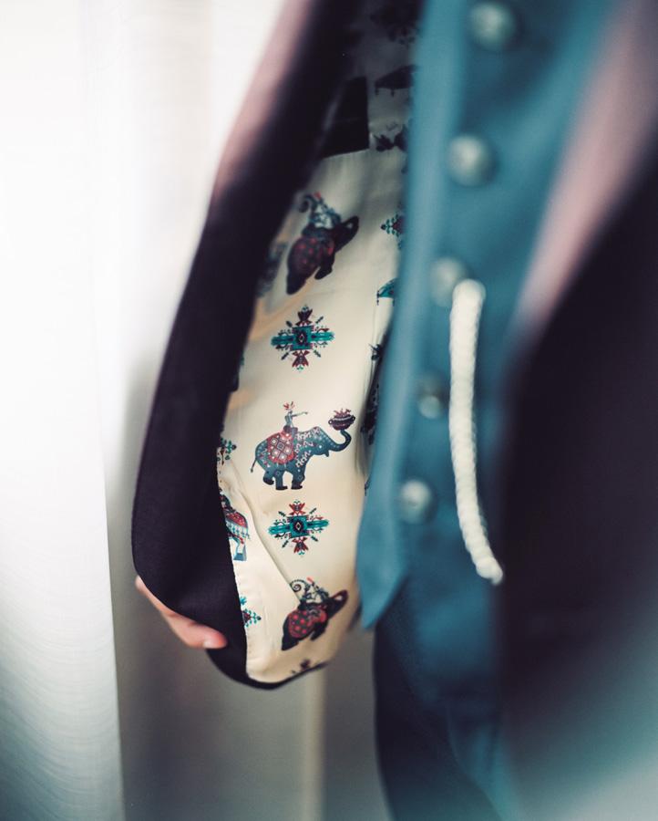 Detail of lining in groom's coat.