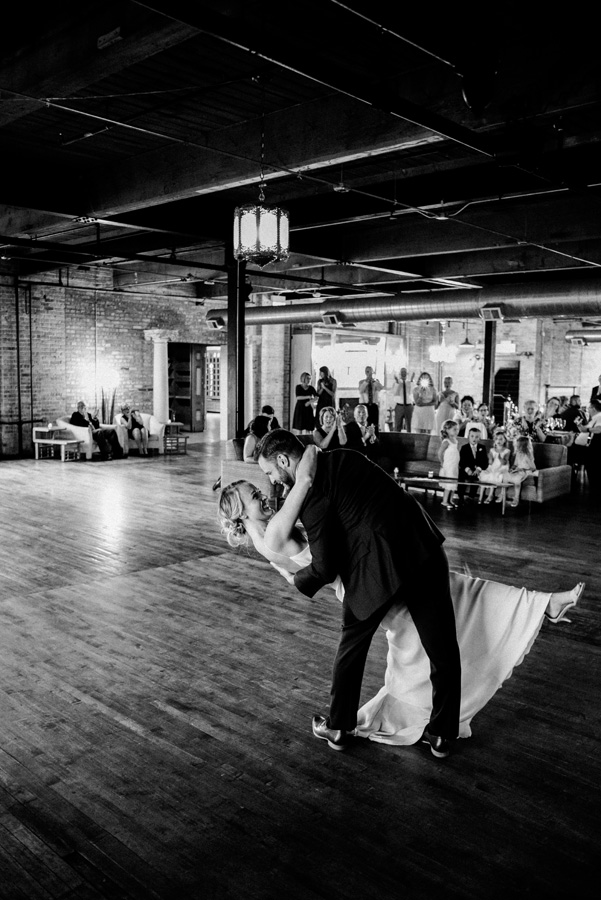 Bride and groom first dance at Salvage One.