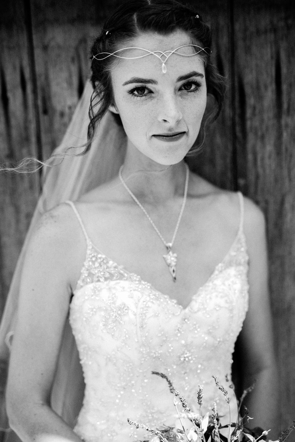 Black and white portrait of bride.