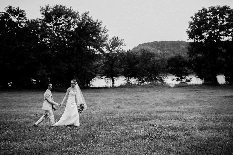 Bride and groom walking together.
