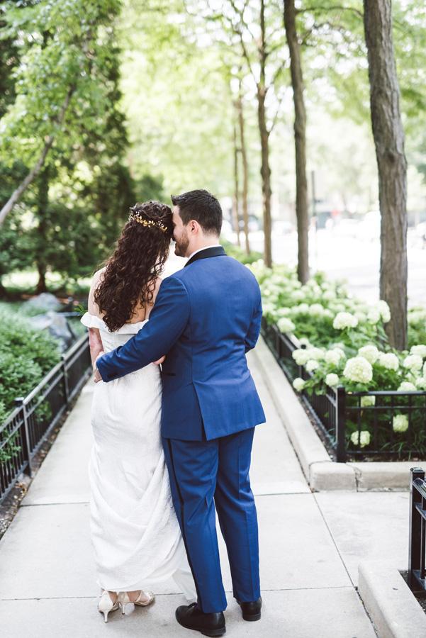 Bride and groom portrait at Washington Park, Chicago.