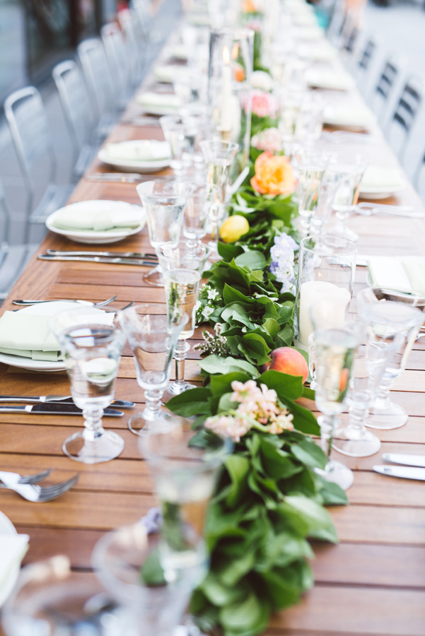 Table decor at wedding reception.