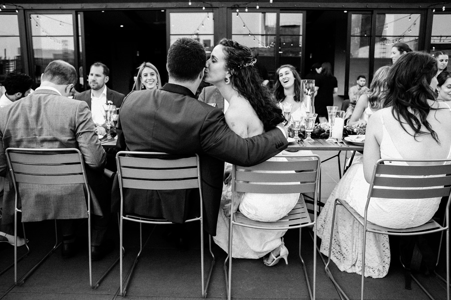 Bride and groom at Morgna's on Fulton wedding reception.