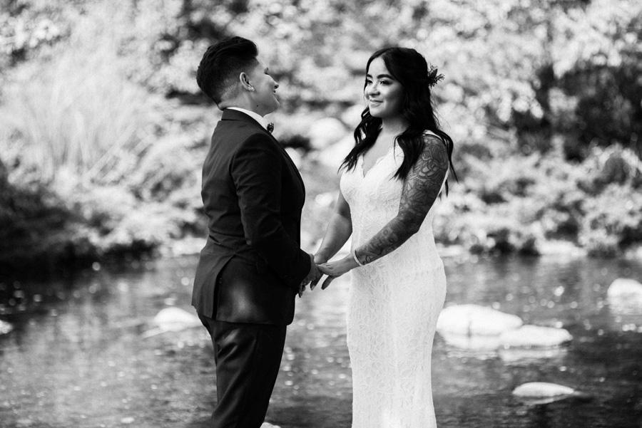 Bride and bride portrait at Lake Katherine.