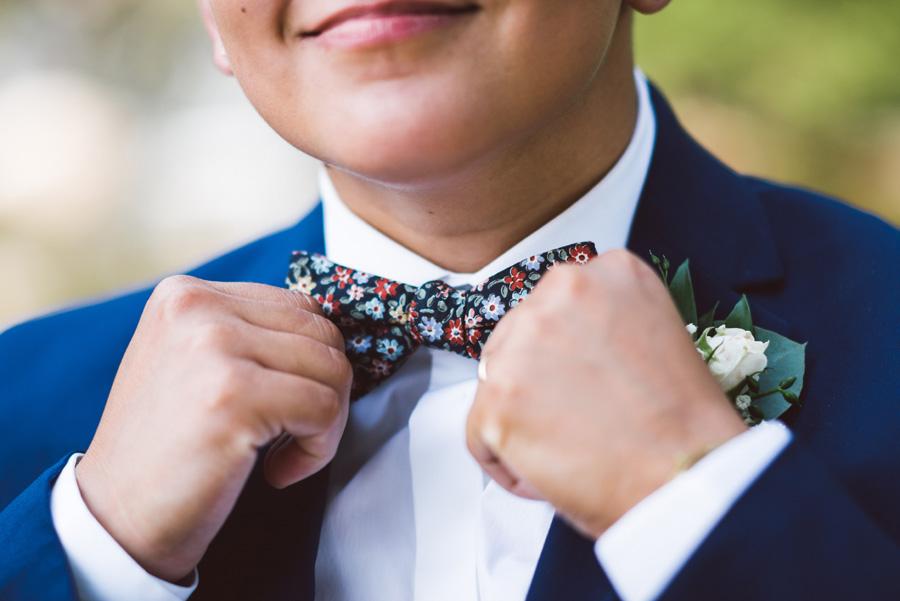 Detail shot of bride's bow tie.