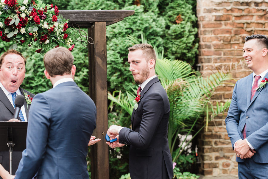 Best man almost drops the ring.
