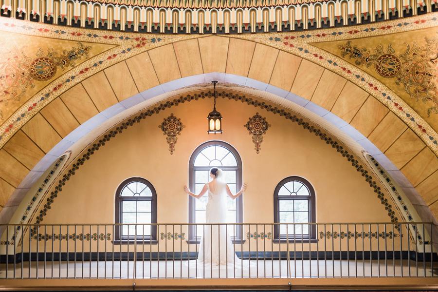 Bride in window.