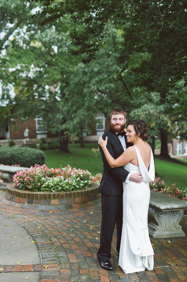 Bride and groom at Kalamazoo College.