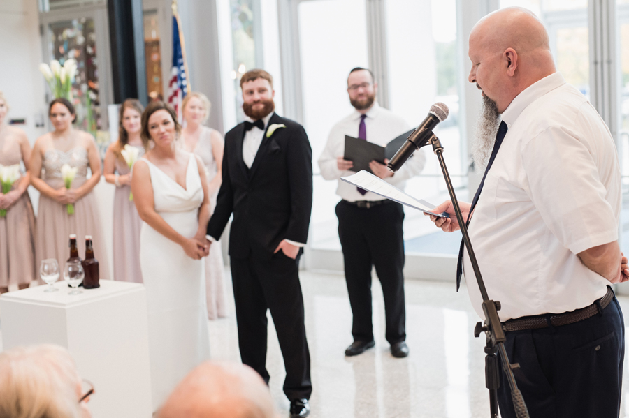 Wedding ceremony at Kalamazoo Institute of Arts.