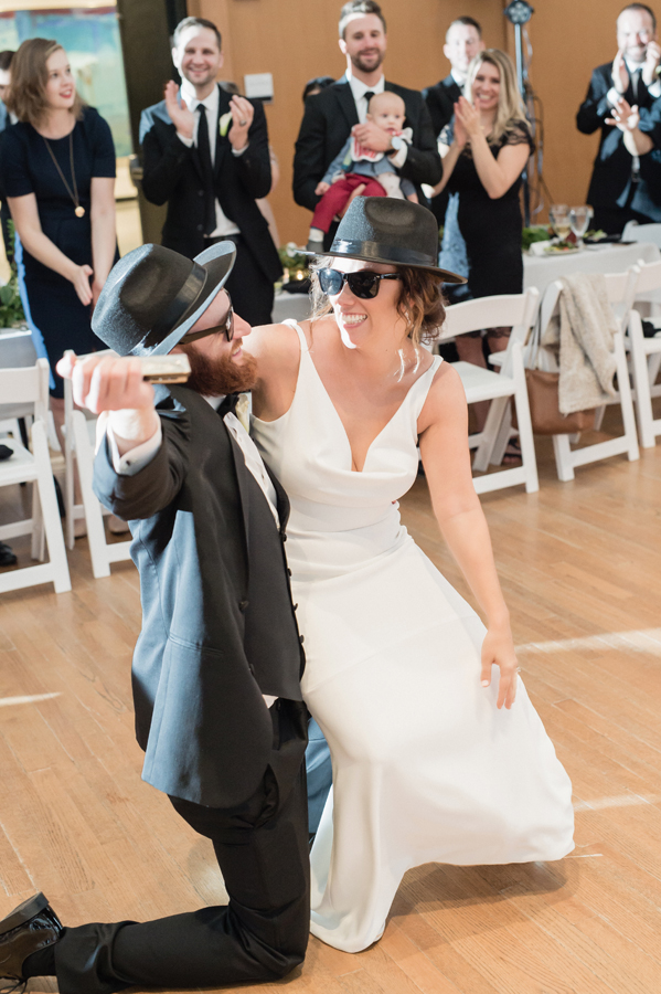Blues brothers intro of bride and groom.