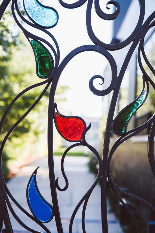 Detail of gate at Ignite Glass Studio.