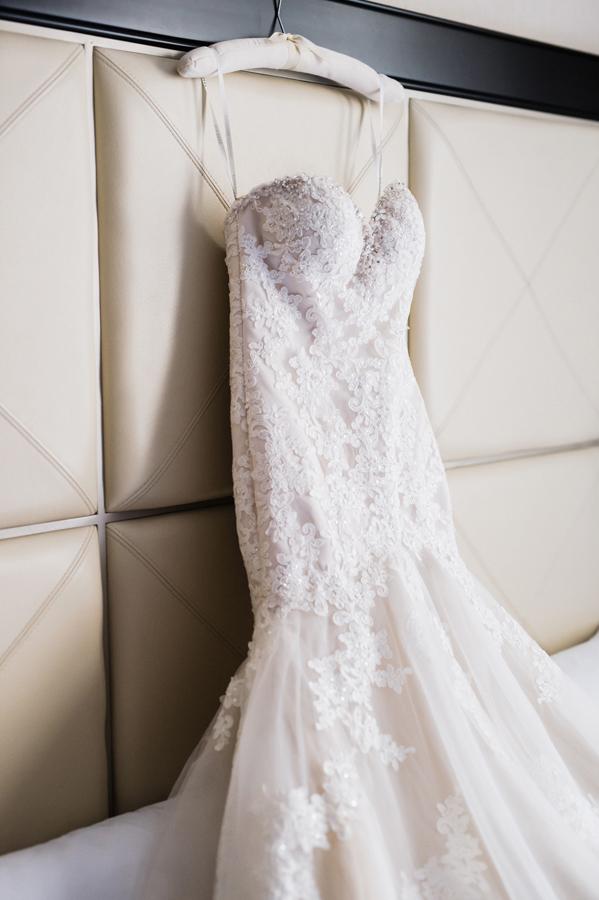 Bride's wedding dress at hotel.